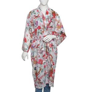 Bird Print Collection - White 100% Cotton Screen Printed Kimono (One Size)