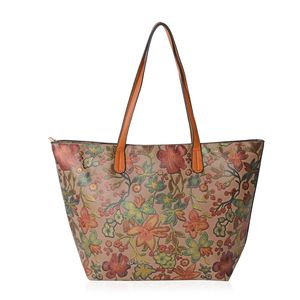 Brown with Multi Color Flower Pattern Faux Leather Tote Bag (18.1x4x11.4 in)