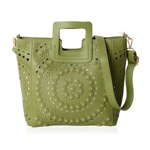Green Faux Leather Laser Cut Flower Pattern Studded Handbag (13.5x4x10.5 in) with Removable Strap