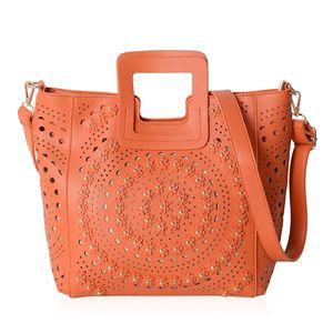 Orange Faux Leather 3D Flower Pattern Tote Bag (13.4x4.1x10.5 in)