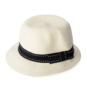 Off White 100% Straw Paper Fedora (One Size)