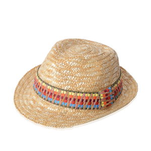 Natural 100% Straw Paper Hat with Rainbow Color Strip Pattern (One Size)
