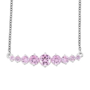 Simulated Pink Sapphire Sterling Silver Necklace (18 in) TGW 4.67 cts.