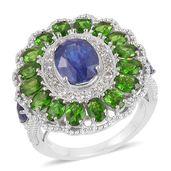Masoala Sapphire, Multi Gemstone Platinum Over Sterling Silver Cocktail Ring (Size 7.0) TGW 6.61 cts.