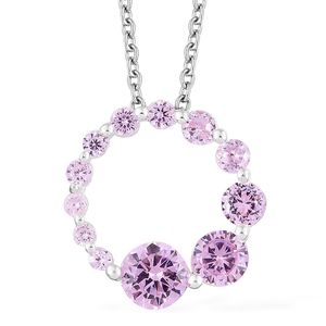 Simulated Pink Sapphire Sterling Silver Pendant With Stainless Steel Chain (20 in) TGW 3.68 cts.