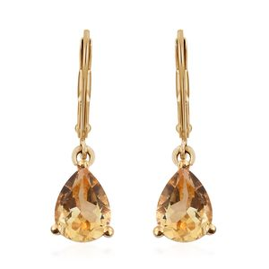 Brazilian Citrine 14K YG Over Sterling Silver & ION Plated YG Stainless Steel Lever Back Earrings TGW 2.00 cts.
