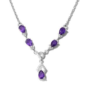 Memorial Day Doorbuster Amethyst Sterling Silver Teardrop Necklace (18 in) TGW 0.45 cts.