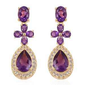 Lusaka Amethyst, White Zircon 14K YG Over Sterling Silver Earrings TGW 7.05 cts.
