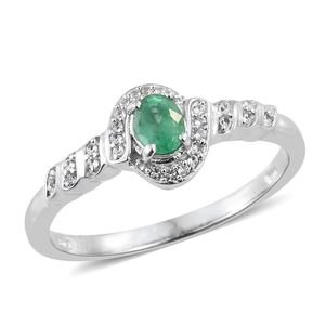 Brazilian Emerald, Cambodian Zircon Platinum Over Sterling Silver Ring (Size 8.0) TGW 0.42 cts.