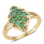 Brazilian Emerald Vermeil YG Over Sterling Silver Split Ring (Size 9.0) TGW 1.38 cts.