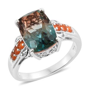 Aqua Terra Costa Quartz, Jalisco Fire Opal Platinum Over Sterling Silver Ring (Size 7.0) TGW 7.40 cts.