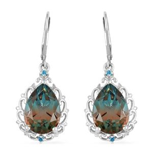 Aqua Terra Costa Quartz, Malgache Neon Apatite Platinum Over Sterling Silver Lever Back Earrings TGW 11.56 cts.