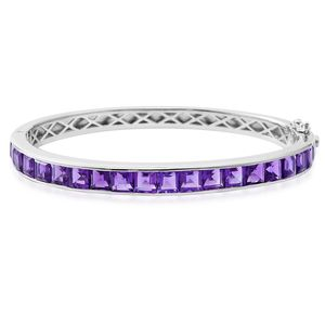 Amethyst Sterling Silver Bangle (7.50 in) TGW 13.20 cts.