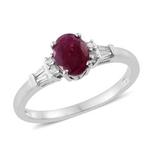 Burmese Ruby, Cambodian Zircon Platinum Over Sterling Silver Ring (Size 5.0) TGW 1.94 cts.