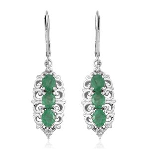 Brazilian Emerald, Cambodian Zircon Platinum Over Sterling Silver Lever Back Earrings TGW 2.15 cts.