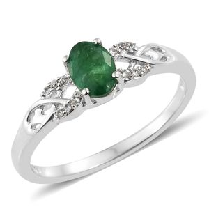 Brazilian Emerald, Cambodian Zircon Platinum Over Sterling Silver Ring (Size 5.0) TGW 0.87 cts.