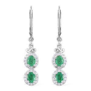 Brazilian Emerald, Cambodian Zircon Platinum Over Sterling Silver Earrings TGW 1.88 cts.