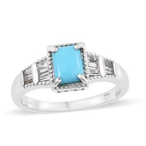 Arizona Sleeping Beauty Turquoise, White Topaz Platinum Over Sterling Silver Men's Ring (Size 7.0) TGW 1.60 cts.