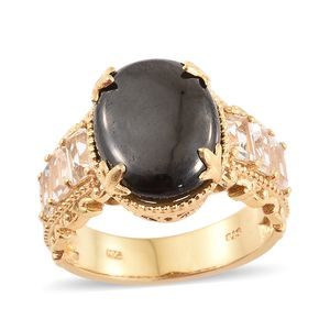 Shungite, White Topaz Vermeil YG Over Sterling Silver Ring (Size 7.0) TGW 8.06 cts.