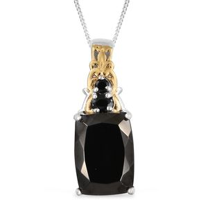 Shungite, Thai Black Spinel 14K YG and Platinum Over Sterling Silver Pendant With Chain (20 in) TGW 4.80 cts.