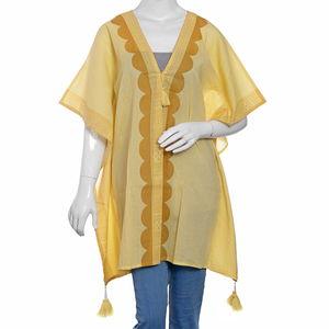 Yellow Hand Block Printed Kaftan (33x42 in, 100% Cotton)