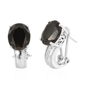 Shungite Platinum Over Sterling Silver Omega Clip Earrings TGW 6.00 cts.