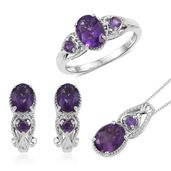 Lusaka Amethyst Platinum Over Sterling Silver Earrings, Ring (Size 5) and Pendant With Chain (20 in) TGW 5.94 cts.