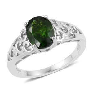 Russian Diopside Sterling Silver Openwork Solitaire Ring (Size 7.0) TGW 1.80 cts.