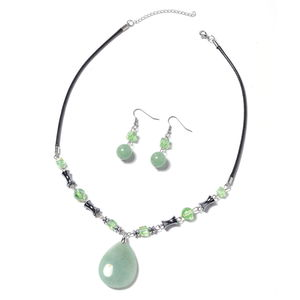 Green Aventurine, Multi Gemstone Stainless Steel Earrings and Necklace (20 in) TGW 202.00 cts.