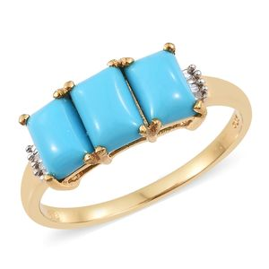Arizona Sleeping Beauty Turquoise, Diamond Vermeil YG Over Sterling Silver Trilogy Ring (Size 7.0) TDiaWt 0.05 cts, TGW 2.38 cts.