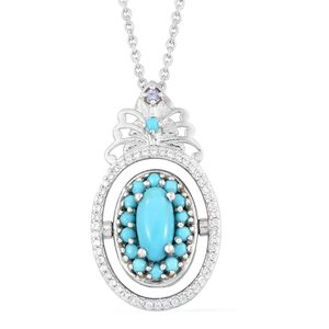 Arizona Sleeping Beauty Turquoise, Multi Gemstone Platinum Over Sterling Silver Reversible Pendant With Chain (20 in) TGW 8.68 cts.