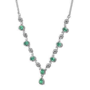 Brazilian Emerald, Green Diamond Platinum Over Sterling Silver Necklace (18 in) TDiaWt 0.08 cts, TGW 3.03 cts.
