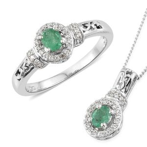 Brazilian Emerald, Cambodian Zircon Platinum Over Sterling Silver Ring (Size 10) and Pendant With Chain (20 in) TGW 1.10 cts.