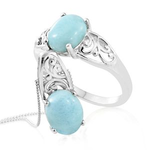 Customer Appreciation Day Larimar Platinum Over Sterling Silver Ring (Size 7) and Pendant With Chain (20 in) TGW 5.60 cts.