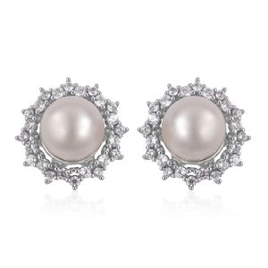 White South Sea Pearl (9-10 mm), White Zircon Platinum Over Sterling Silver Stud Earrings TGW 1.34 cts.