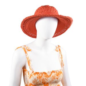 Coral 100% Cotton Crochet Beach Hat (One Size)