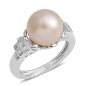 White South Sea Pearl (9-10 mm), White Topaz Sterling Silver Ring (Size 7.0) TGW 0.44 cts.