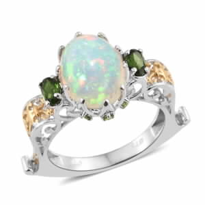 Karen's Fabulous Find Ethiopian Welo Opal, Russian Diopside 14K YG and Platinum Over Sterling Silver Openwork Euro Ring (Size 8.0) TGW 4.25 cts.