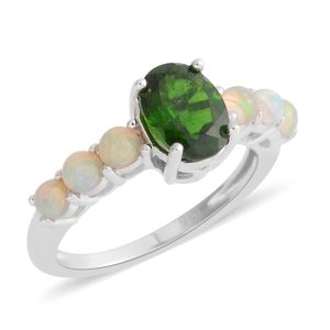 Russian Diopside, Ethiopian Welo Opal Sterling Silver Ring (Size 5.0) TGW 1.77 cts.