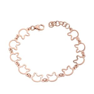14K RG Over Sterling Silver Cat Bracelet (7.50 In) (4.5 g)