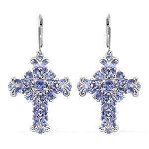 Tanzanite, Cambodian Zircon Platinum Over Sterling Silver Cross Earrings TGW 6.25 cts.