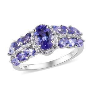 Tanzanite, Cambodian Zircon Platinum Over Sterling Silver Ring (Size 7.0) TGW 2.01 cts.