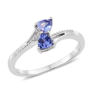 Tanzanite Platinum Over Sterling Silver Bypass Ring (Size 7.0) TGW 0.68 cts.