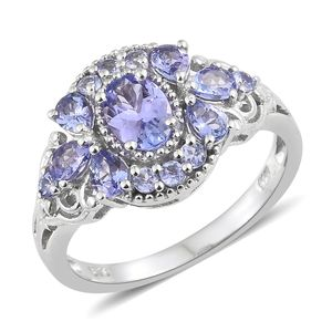 Tanzanite Platinum Over Sterling Silver Ring (Size 6.0) TGW 2.07 cts.