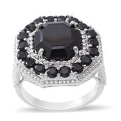 Thai Black Spinel Sterling Silver Hexagon Ring (Size 8.0) TGW 12.08 cts.