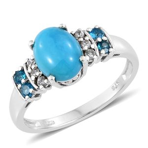 Arizona Sleeping Beauty Turquoise, Multi Gemstone Platinum Over Sterling Silver Ring (Size 11.0) TGW 2.78 cts.