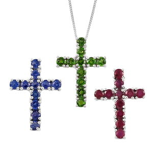 Multi Gemstone Platinum Over Sterling Silver Set of 3 Cross Pendants With Chain (20 in) TGW 7.72 cts.