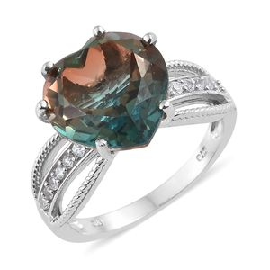 Aqua Terra Costa Quartz, Cambodian Zircon Platinum Over Sterling Silver Ring (Size 9.0) TGW 10.15 cts.