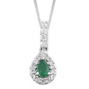Brazilian Emerald, Cambodian Zircon Platinum Over Sterling Silver Pendant With Chain (20 in) TGW 0.73 cts.