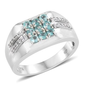 Mint Apatite, Cambodian Zircon Platinum Over Sterling Silver Men's Ring (Size 10.0) TGW 1.48 cts.